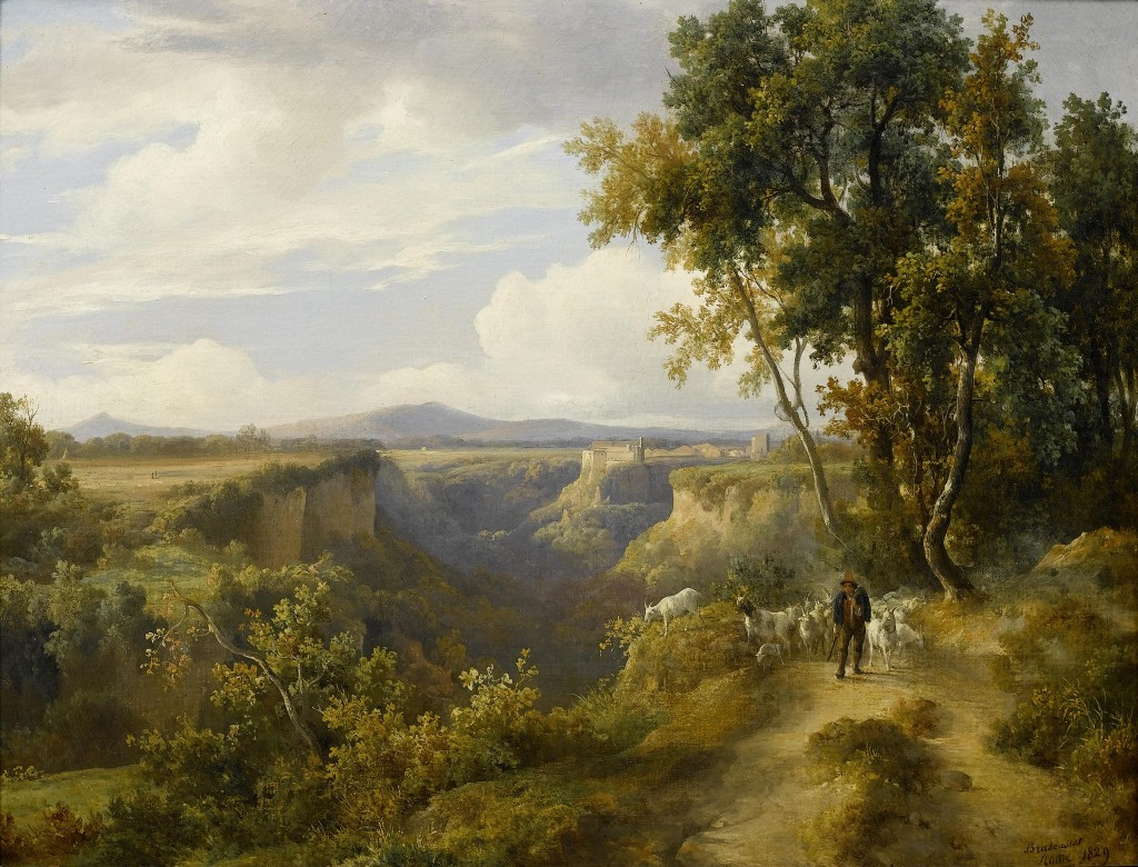 Jacques Raymond Brascassat - A goatherder and his flock in an Italianate landscape